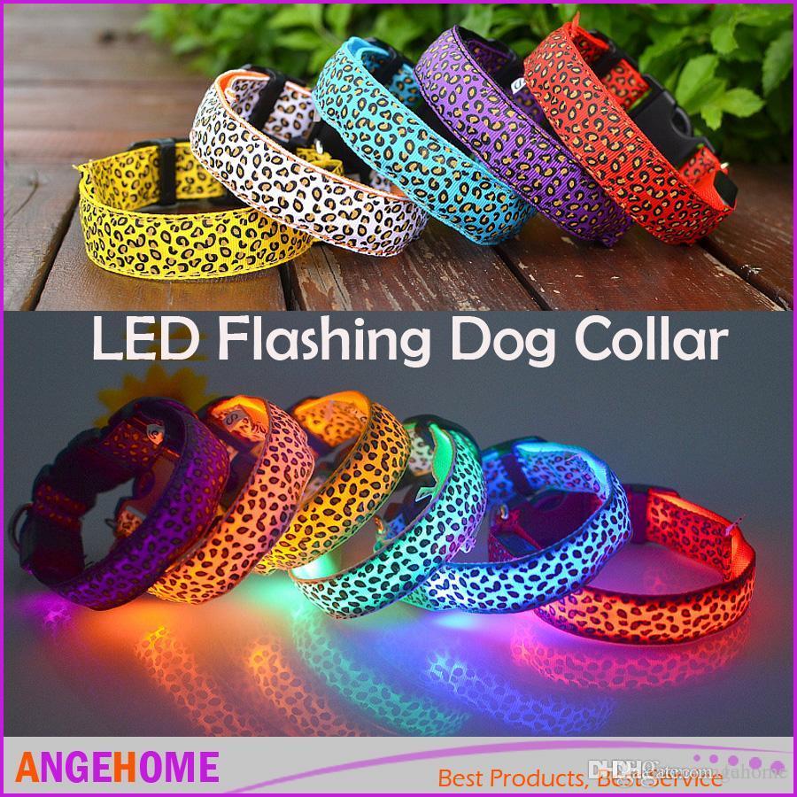 2016 NUEVO Collar de Perro para Mascotas LED Collar de Resplandor Intermitente Collares de Gato de Nylon Leopardo ajustable LED collares de perro 8 Colores 4 tamaño Para Perro