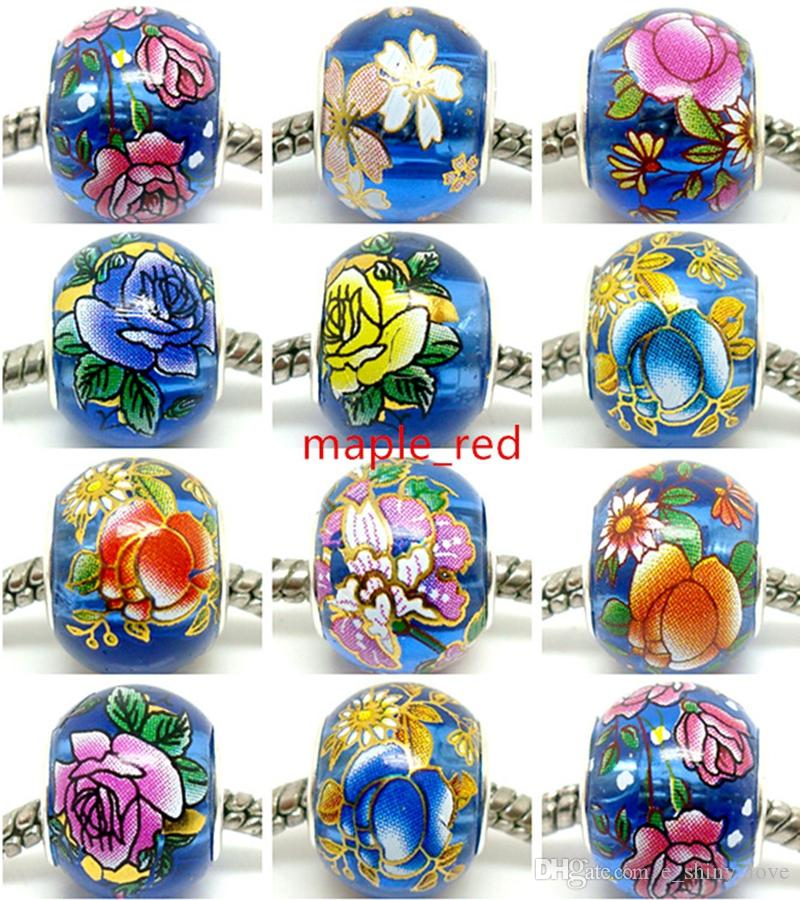 50pcs Round Mix Royal Blue Flower Crystal Beads for Jewelry Making Loose Lampwork Charms DIY Beads for Bracelet Wholesale in Bulk Low Price