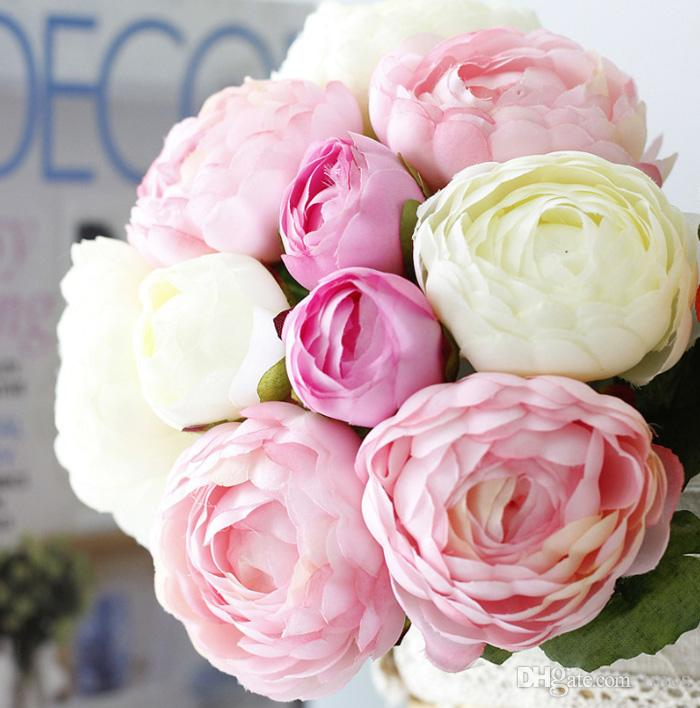 10pcs bei fiori artificiali di nozze nuziali della peonia di alta qualità fiori di seta della decorazione domestica 4 colori disponibili