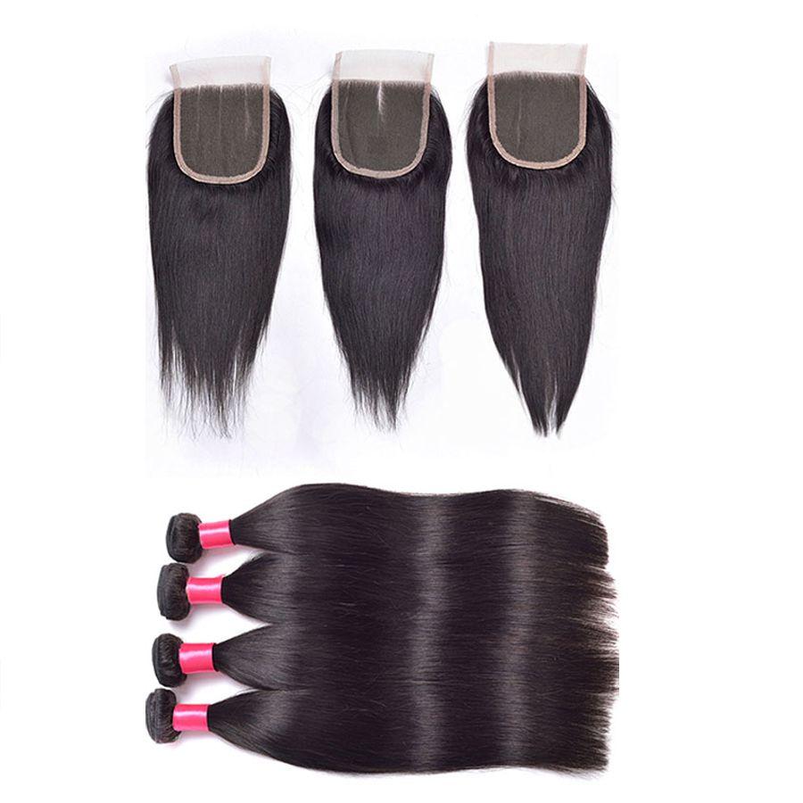 7A 레이스 클로저가 장착 된 말레이시아의 스트레이트 버진 헤어 베일 런스 Middle / Free / 3 way Top Closure와 Maylasian Weft Hair Extensions