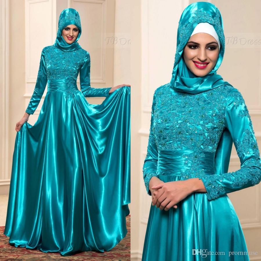 Muslim Evening Dresses With Hijab Arab 2018 Kaftan Formal Lace Dubai ...