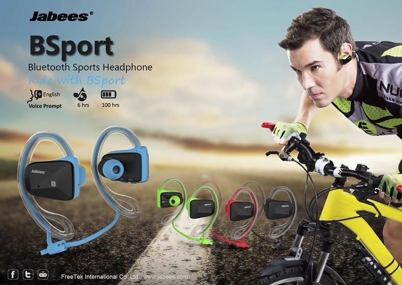 2016 Jabees Bsport Bluetooth Stereo Sport Stereo Cuffie impermeabili Cuffie Auricolare per Iphone Samsung con NFC