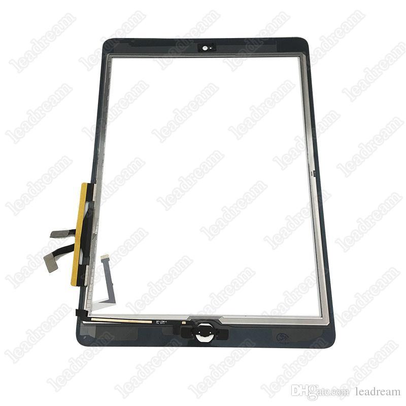 50PCS Pantalla táctil Panel de vidrio digitalizador Asamblea para iPad Air con botones Adhesivo envío gratis