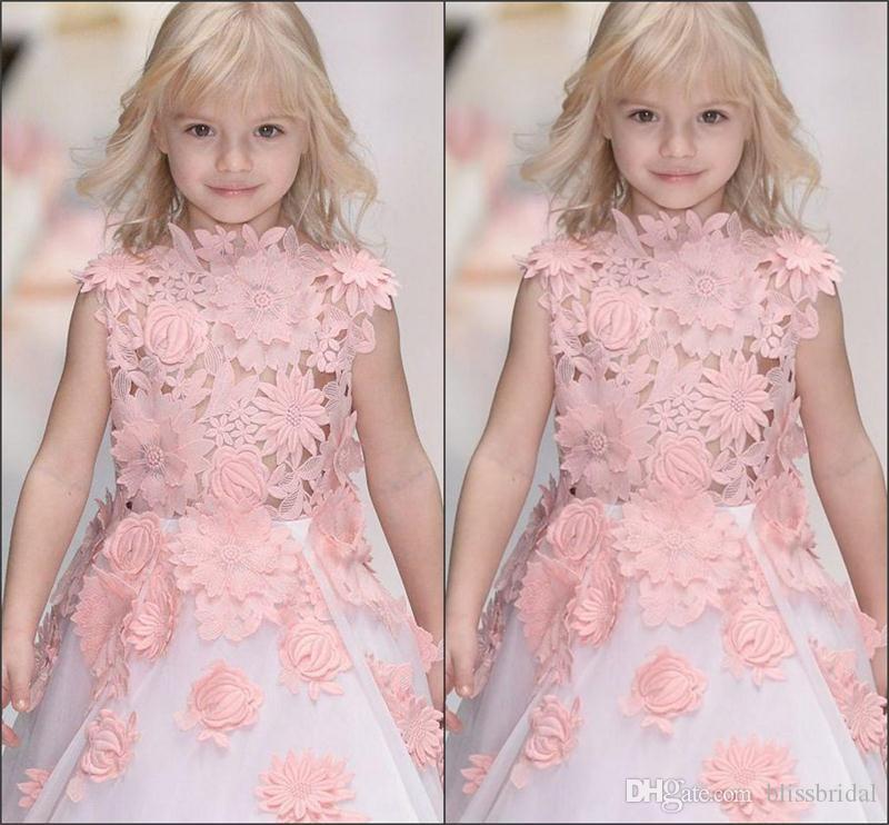 Meninas bonitos Rendas Vestidos de Princesa 2017 3D-Floral-Applique Sem Mangas Flor Menina Vestidos Imagens Reais Organza Branco Crianças Vestido de Festa