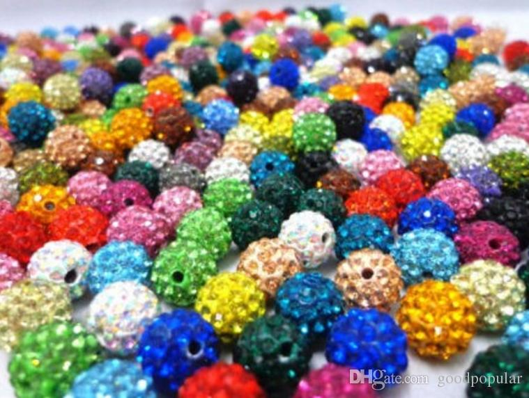 200pcs//lot 10mm mixed micro pave disco crystal shamballa beads bracelet spacer