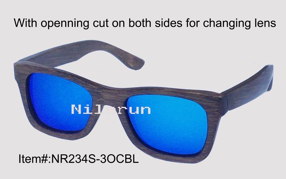Bambus-Sonnenbrille mit Öffnung und blauer, entspiegelter Linse