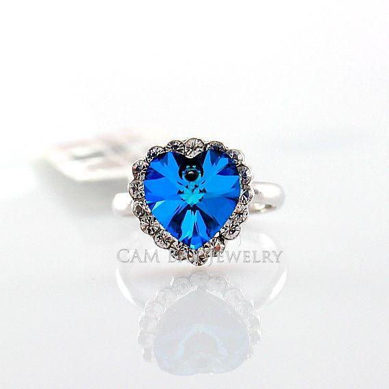 Declaração anel de jóias liga rosa banhado a ouro azul safira cristal coração anel flash mulheres