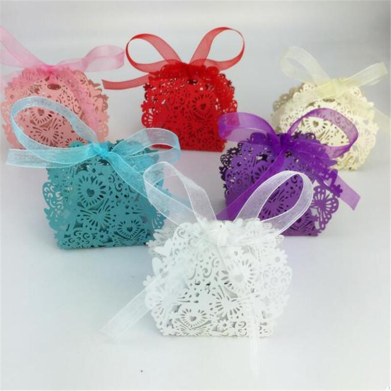 500pcs romantico bomboniere decorazioni farfalla caramelle scatole regalo festa di nozze scatola di caramelle con il nastro