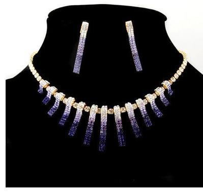 violet graiden collier de réglage de barre de couleur cristal boucles d'oreilles (ming) jg897