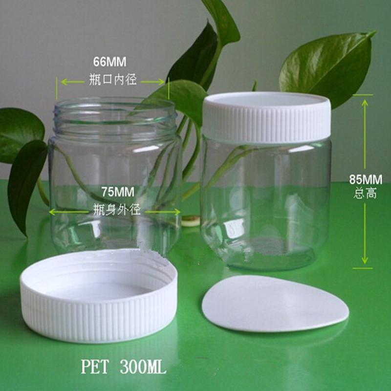 300g 85mm*75mm Transparent PET jar plastic packaging bottles plastic honey bottle Chili sauce dried fruit snack bottle 50PCS