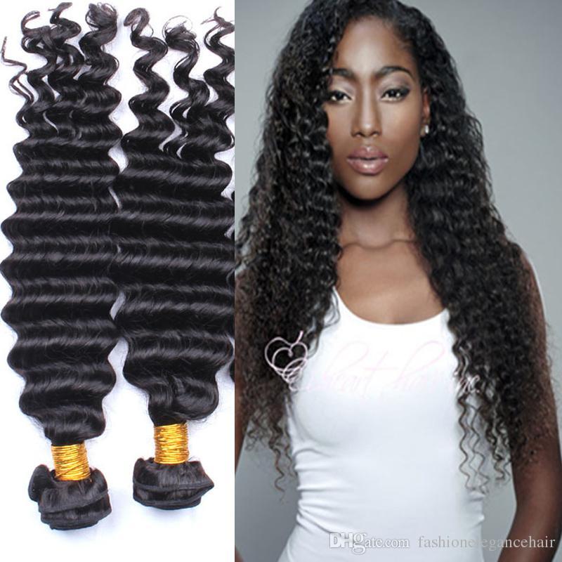 Wholesale Virgin Hair Peruvian deep Wave Hair 100g Can Be Dye Color Deep Wave Human Weft Cheap 7A Indian Natural Black hair