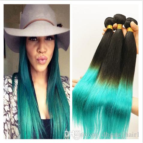9A Peruvian 1B 청록색 2 톤 인간 버진 헤어 번들 3 개 Lot Silky Straight Extensions 다크 루틸 청록색 Ombre Human Hair Weaves