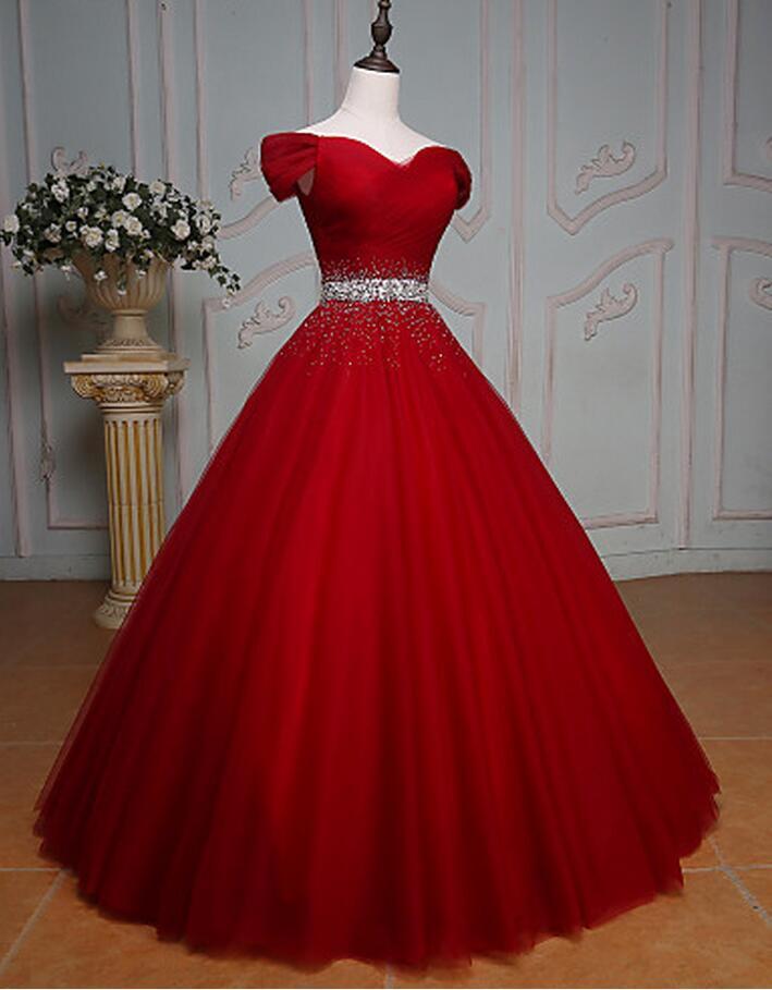 Vestidos Noite Vestidos Quinceanera Off A Ombro Até O Chão Tulle Sweethert Vestido De Baile 15 18 Aniversário Cintura Beading Vestidos Vestidos