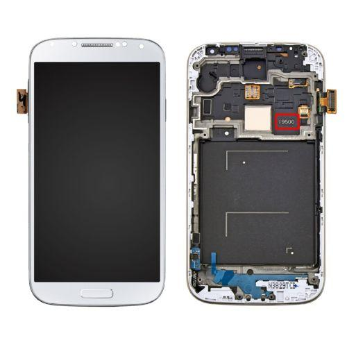 logotipo oculto para Samsung Galaxy S4 I9500 Pantalla LCD + pantalla táctil Digitalizador + marco