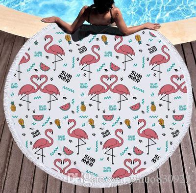 Großhandel Flamingo Mikrofaser Runde Strandtuch Mandala Große Strandtücher Decke Picknick Yoga-Matte Boho Tischdecke Durchmesser 150 cm