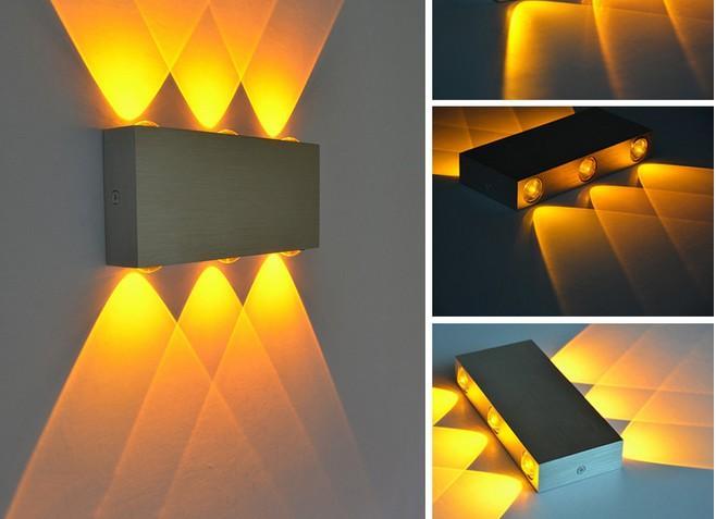 Lampada da parete a LED rettangolare in alluminio 18W camera da letto creativa soggiorno lampada a sospensione corridoio luci