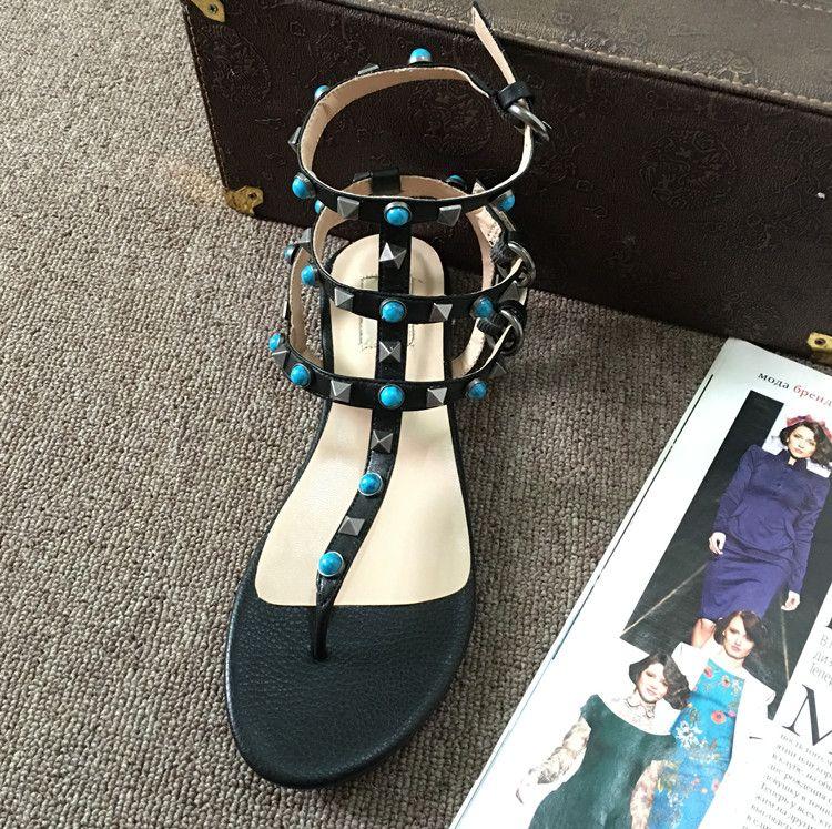 de alta calidad ~ u592 34/40/41 sandalias planas de cuero genuina joya t correa remaches ocasionales negro amarillento de gladiadores blanco