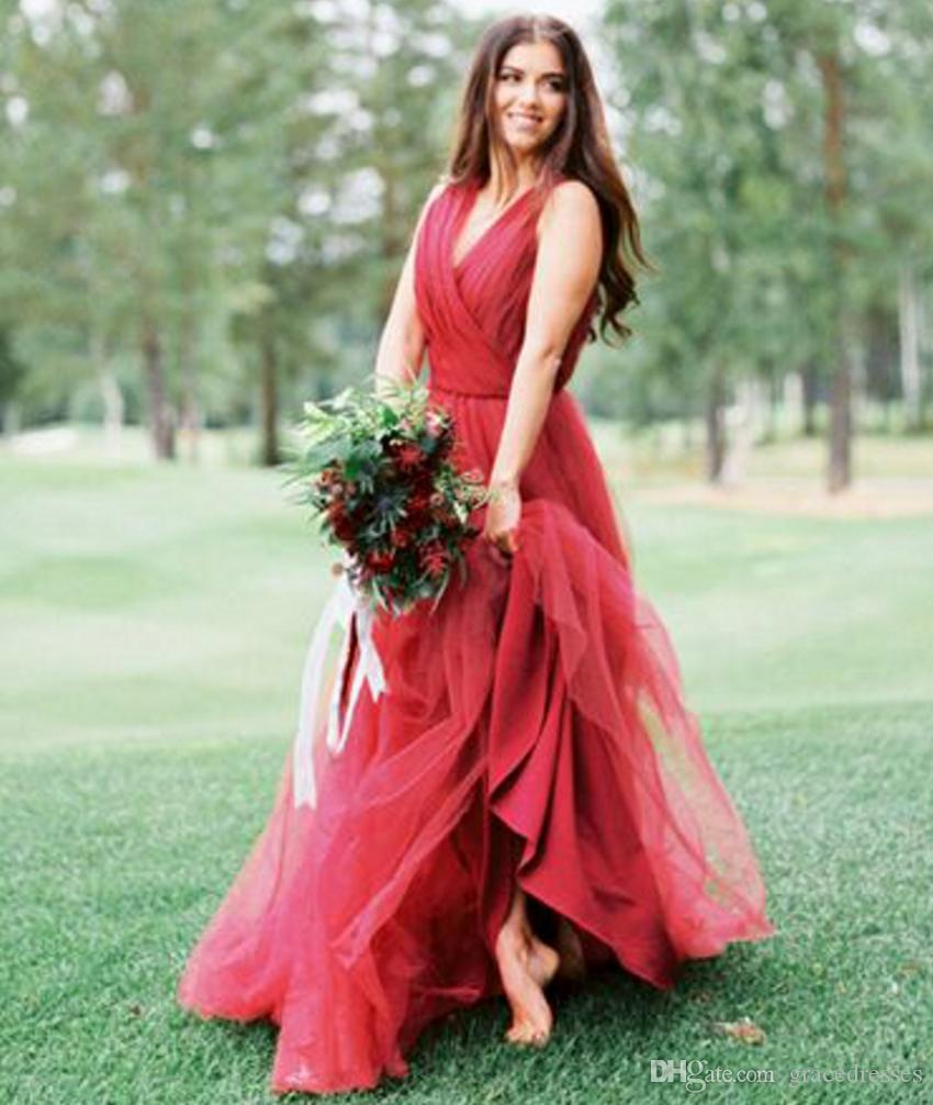 Discount Dark Red Wedding Dress Tulle Deep V Neck Ruched Top A Line ...