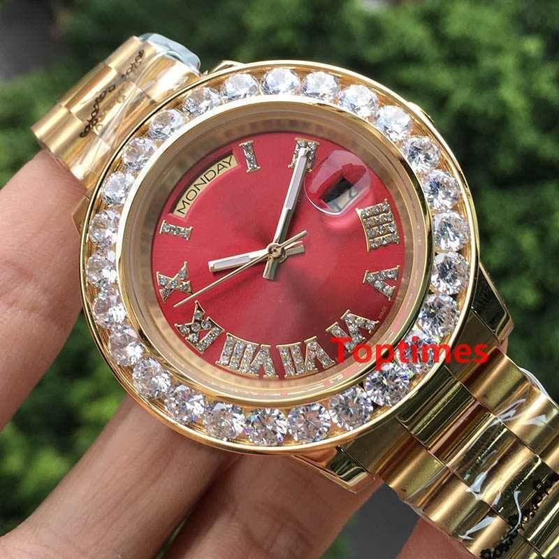 아웃 아이스 옐로우 골드 빅 럭셔리 남성 데이 날짜 스테인레스 스틸 대통령 자동 비즈니스 레드 남성 다이아몬드 시계 손목 시계 시계