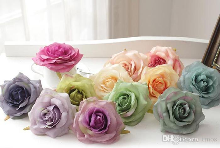 50pcs / lot Teste di seta di seta di colore del petrolio di lusso 50pcs teste rosa blu del fiore 4.2inch per la decorazione di cerimonia nuziale della parete esterna del fiore