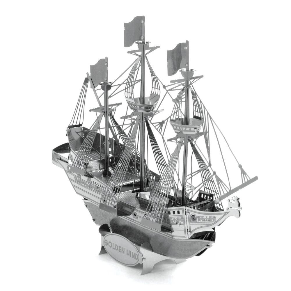 Stainless steel ornaments - Ships 3d Metal Model Etching Puzzles Chinese Metal Earth Golden Hind Creative Gifts Stainless Steel Ornaments