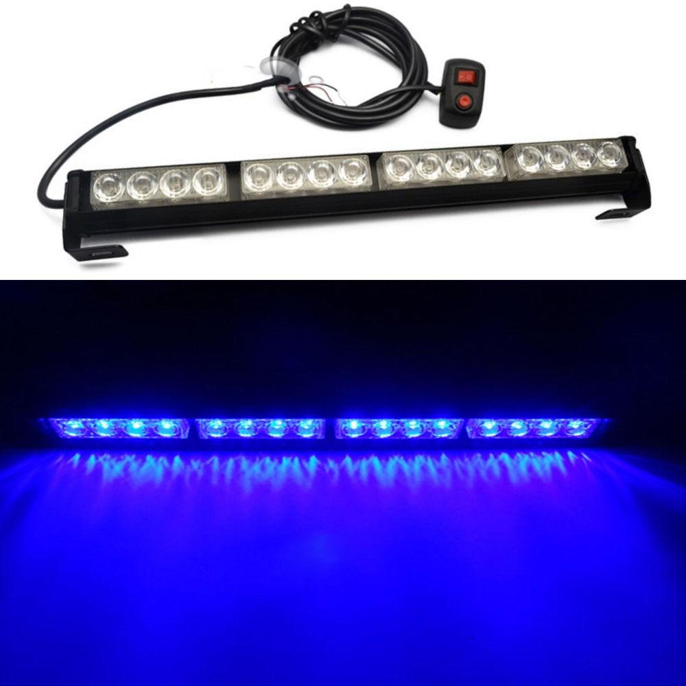 16 LED BLUE Luz de advertencia de emergencia Bar Traffic Vehicle Advisor Luz estroboscópica Flash