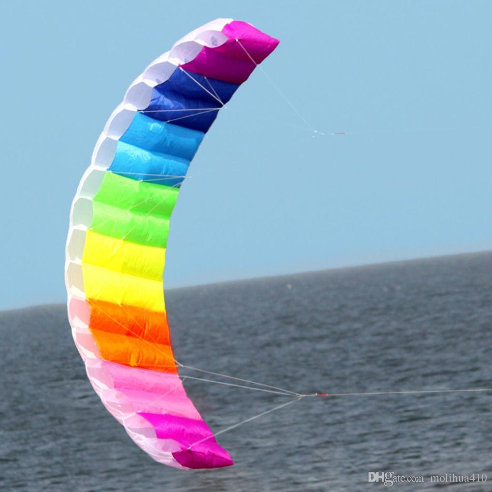 Новый 2 м мощность двойной линии трюк parafoil парашютом Радуга пляж Кайт для начинающих