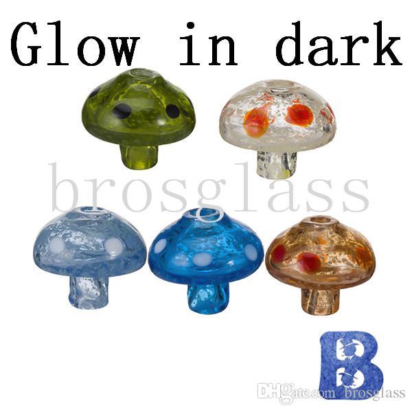 Berretto Carb in vetro luminoso a fungo luminoso DHL Glow In Dark Diameter 31mm Fondo 11mm 4mm Biberon piatto chiodo senza fiamma Snap Enail Colorful Dab Rig