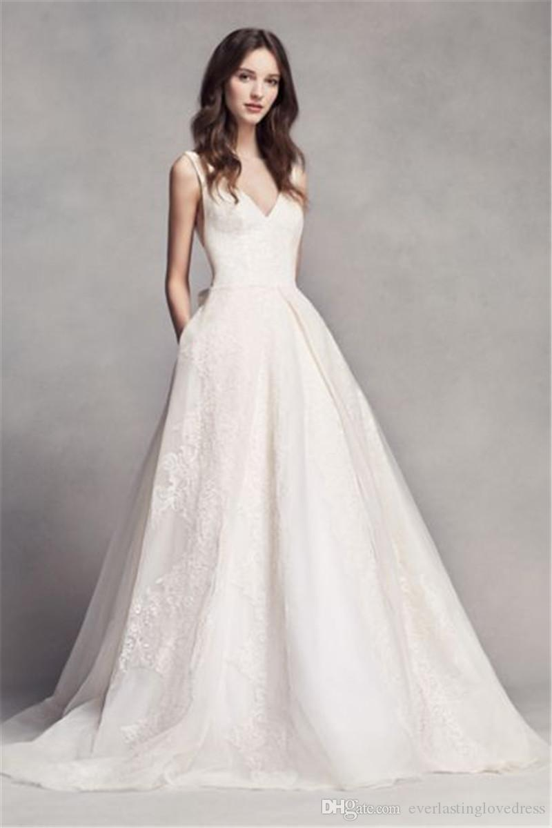 for whole family brand new shopping Discount Deep V Neckline And Hand Cut Bow In Back Pleat Wedding Dress  VW351318 Applique Lace Lower Back Bridal Gowns Vintage Wedding Dress  Wedding ...