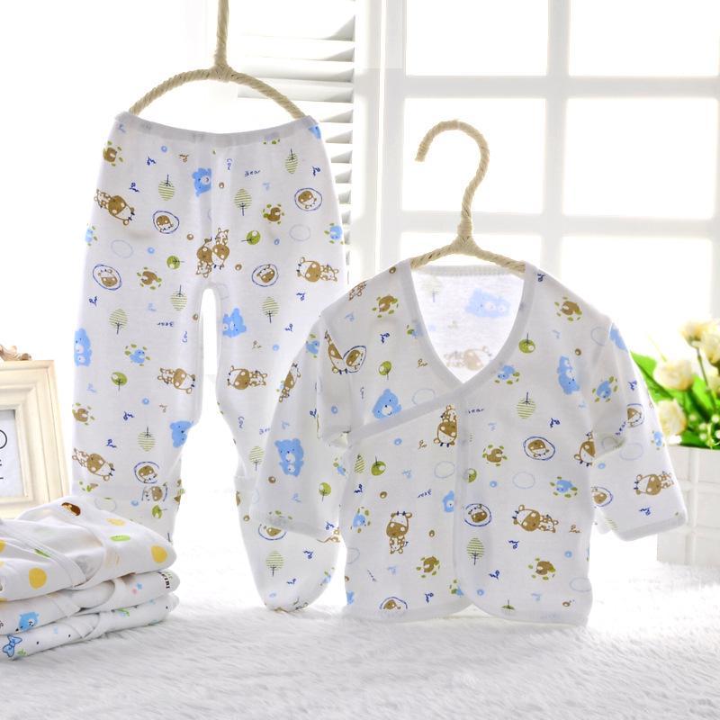 Wholesale cotton newborn baby clothes set infant girls boys soft clothing 2 pieces set 0-3 Months 2 styles