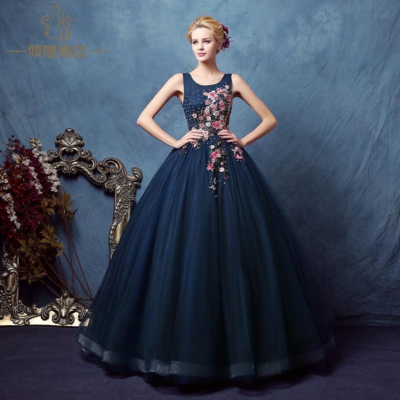 Plum Blossom Ricamo Cristallo Perline Velo Court Ball Gown Abito Medievale Rinascimentale Victoria / Antoinette / Belle Ball