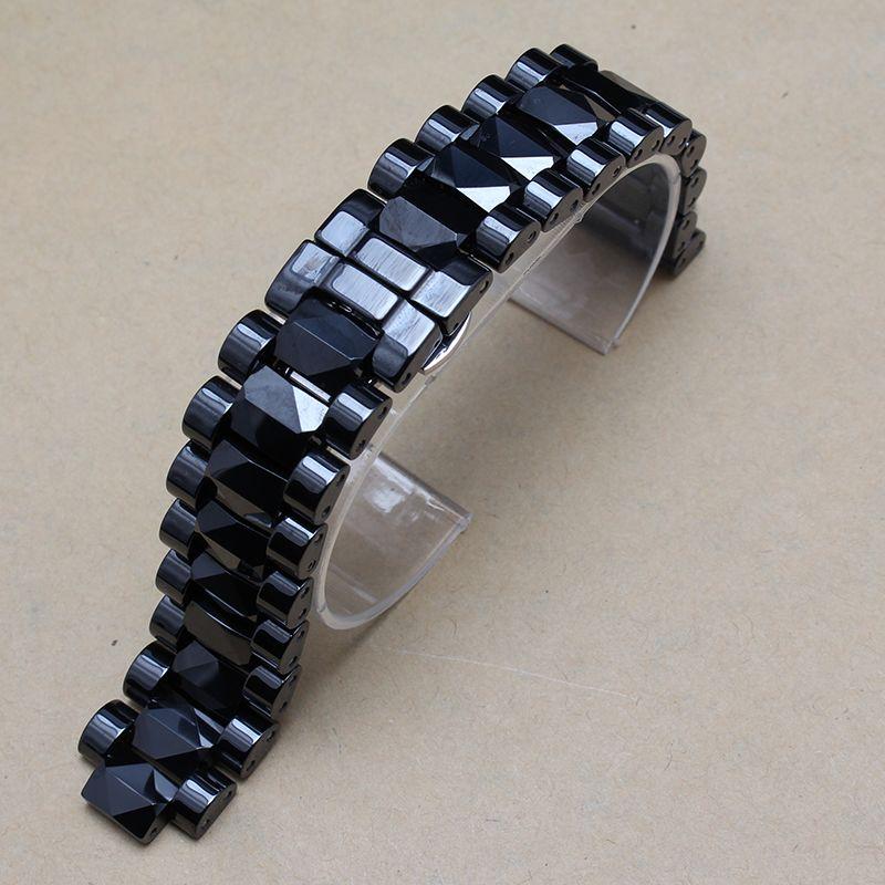 Bracelets de montre en céramique blanc-noir de haute qualité pour le diamant Montres Hommes Femmes 19mm Loquet 10mm Fit marque heures