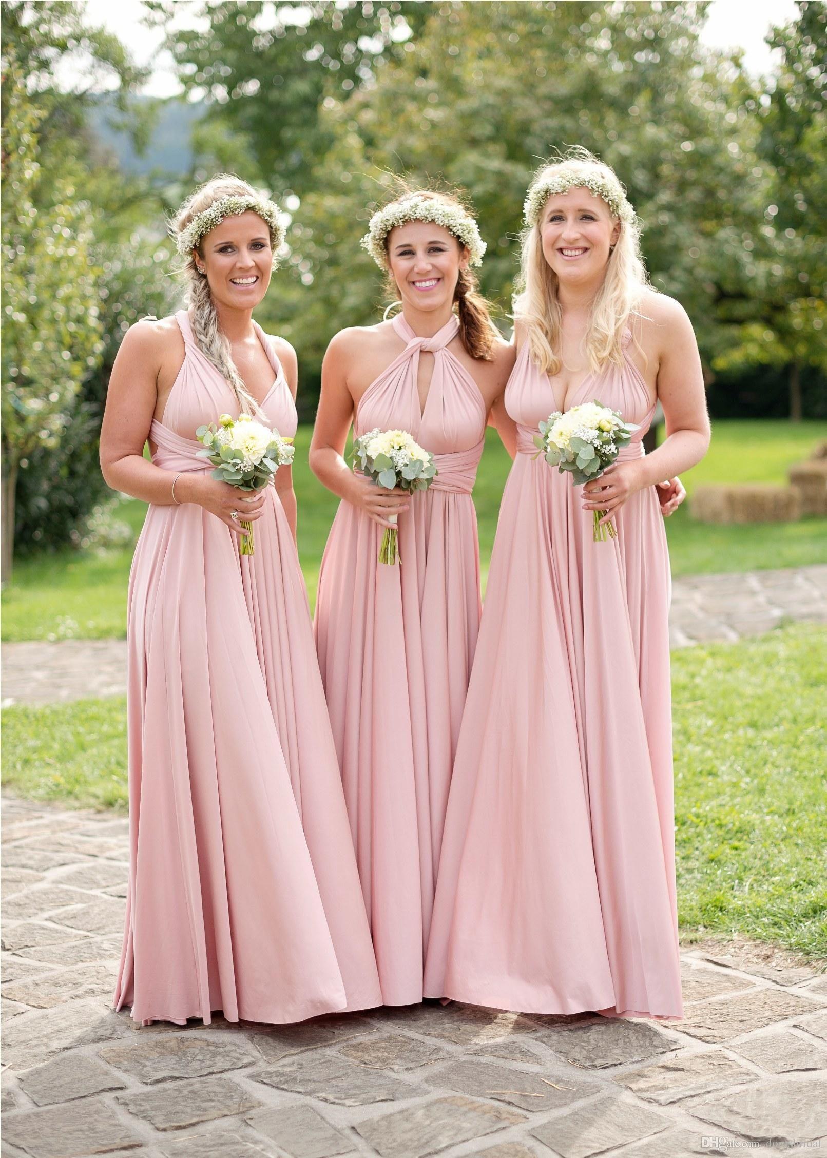 cute high quality materials cheap sale 2017 Convertible Twobirds Bridesmaid Dress A Line Floor Length Ruffles  Blush Pink Multiway Bridesmaid Dresses Bridemaid Dresses Bridesmaid Dresses  ...