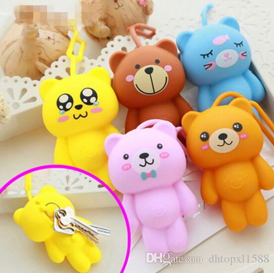 2016 hot sale silicone car key holder key bag holder cute gray cat bear panda pendant for bag man keychain cover
