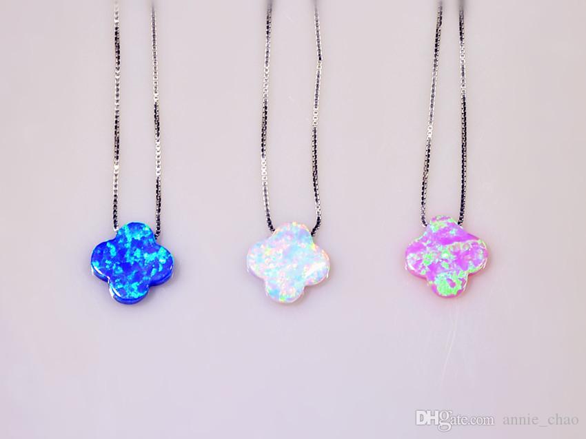 Monili all'ingrosso di vendita al dettaglio fine bianco / blu / rosa opale di fuoco opale di pietra pietra pendenti placcati argento per le donne PJ16060202