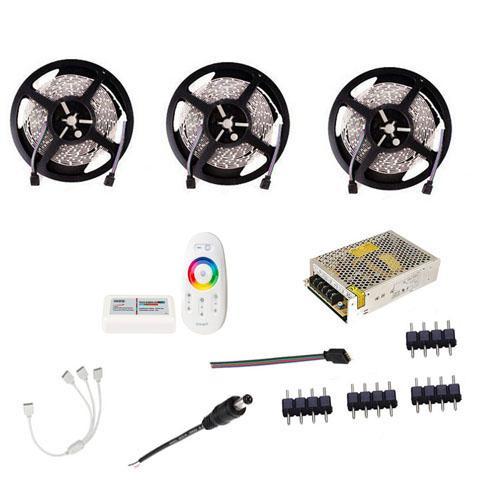 La tira flexible 15M 20M RGB RGBW LED 5050 SMD 3528 cinta cuerda + 12V 18A RF Remote Touch Controller + Fuente de Alimentación + DC Conector macho