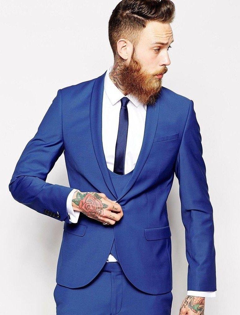 Vendita calda Groomsmen Scialle Risvolto Smoking dello sposo Royal Blue Abiti da uomo Matrimonio / Prom. Best Man Blazer (Jacket + Pants + Vest + Tie) A103