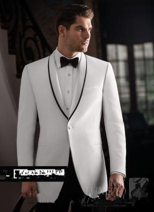White Custom Made Groom Tuxedos Men Suits Shawl Lapel Bridegroom Wedding/Business/Prom/Party Suits (Jacket+Pants+Bow Tie)