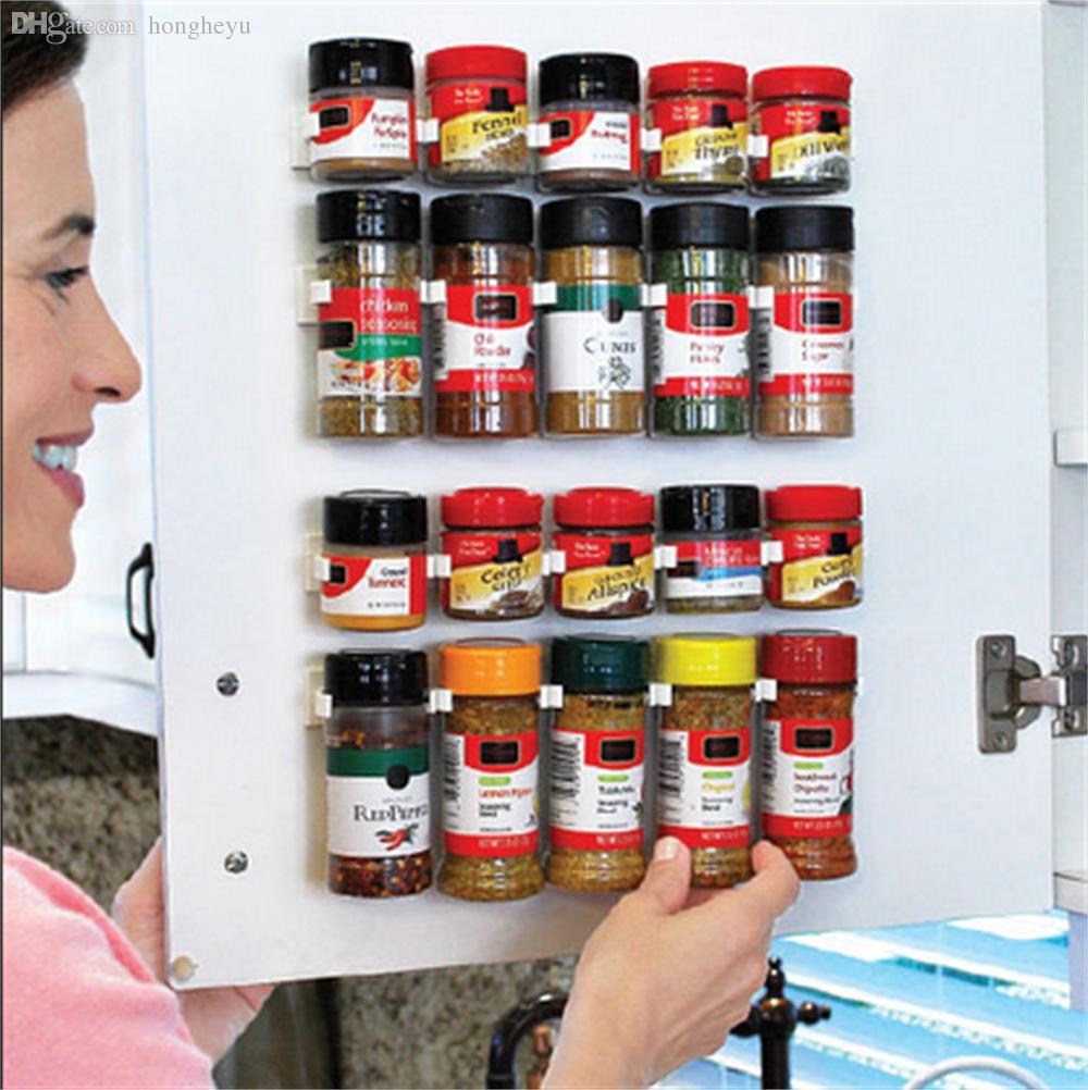 Оптово-5шт для хранения Holdres Стеллажи для колесиков Spice Jars Бутылки Fit Кухня Холодильник Дверь Задняя стенка шкафа Экономия пространства Очистить инструменты