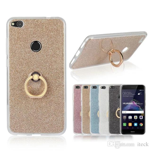 Glitter Bling Soft Tpu Silicone For Huawei P8 Lite 2017 Case For Huawei P9 Lite P10 Lite P10 Plus Stand Holder Phone Cover Designer Cell Phone Cases Leather Cell Phone Cases From