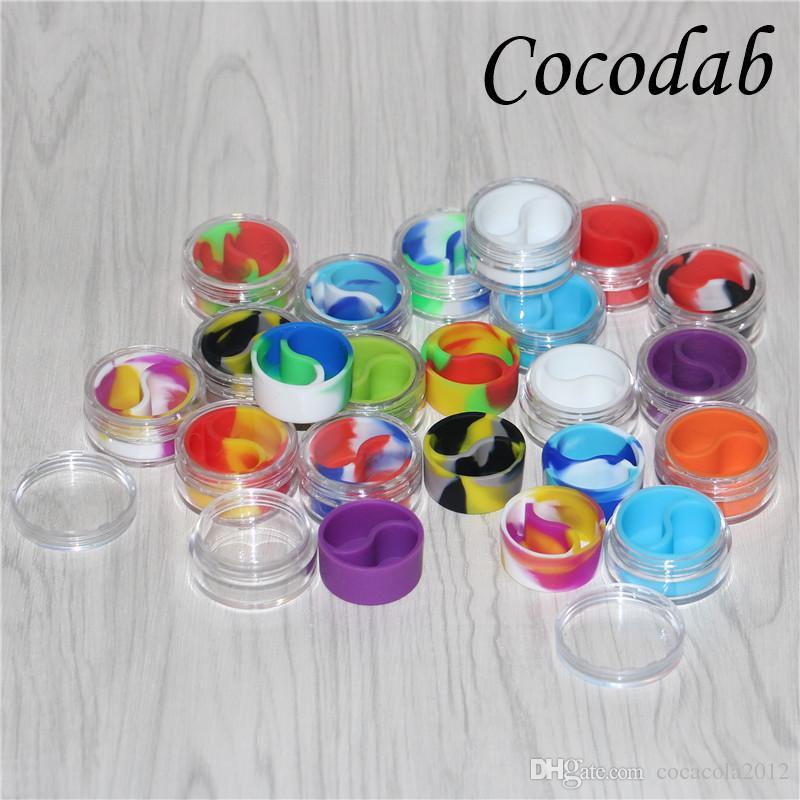 100 stücke acryl silikonbehälter 10 ml wachs konzentrat silikonbehälter antihaft tupfen bho öl gläser werkzeug vorratsglas kostenloser versand DHL