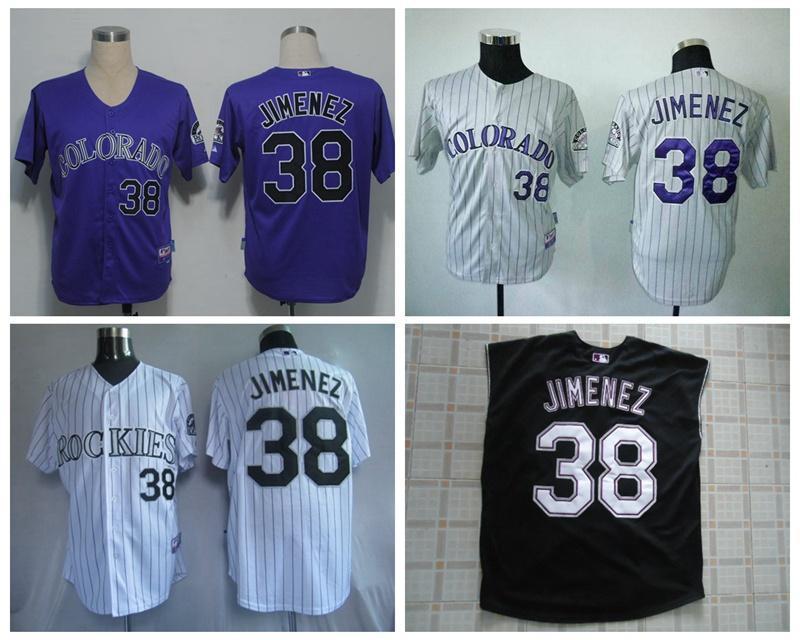 ... günstige colorado rockies 38 jimenez herren baseball jerseys schwarz  lila grau weiß streifen mlb a