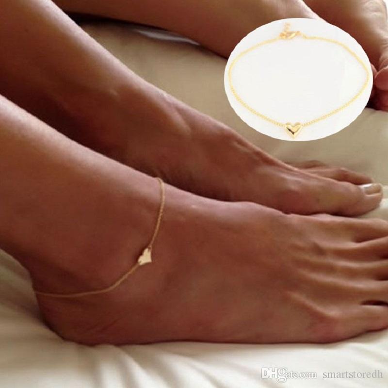 Chica de moda corazón simple pulsera de tobillo cadena playa pie sandalia joyería C00021 SMAD