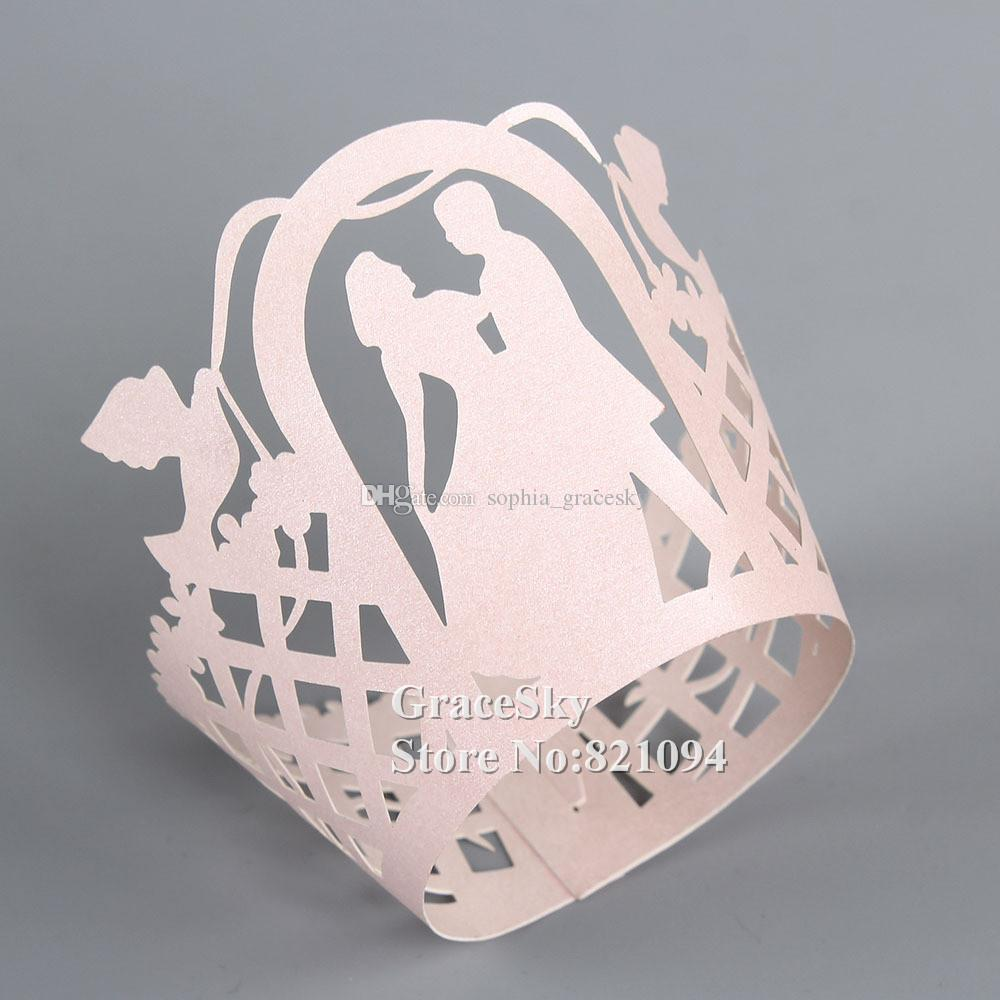 100pcs*Free Shipping Laser Cut Boyand Girl Dancing Paper Cupcake Wrapper Liner for Wedding Christmas Birthday Party muffin Holder Decoration