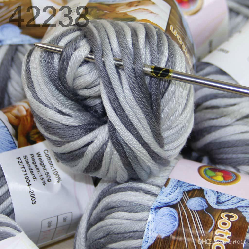 Продажа много 3 BallsX50g специальные толстые камвольно 100% хлопок вязание пряжи серый белый 42238