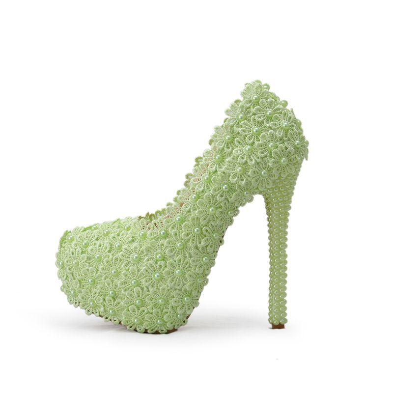 Fiore di pizzo con perle tacco alto scarpe belle scarpe da festa di nozze Alti nuziale talloni della damigella d'onore bianco / verde / Rosa