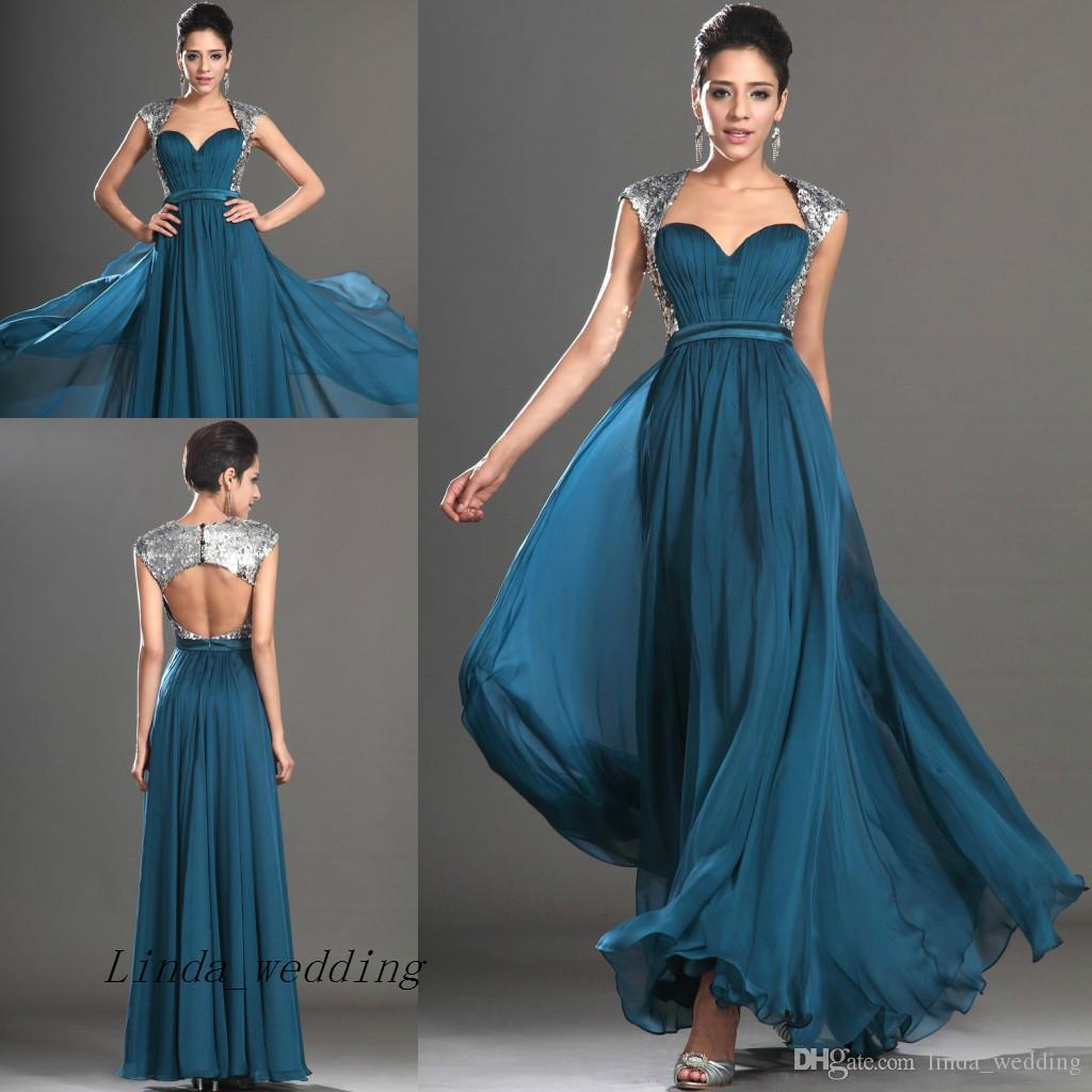 teal colour long evening dress princess chiffon sweetheart