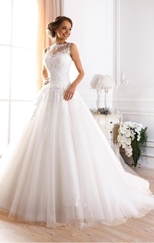 Großhandel Romantische Spitze A Linie Brautkleider 18 Mit Appliques  Hofzug Illusion Ausschnitt Hochzeit Brautkleider Von Prettysell18, 18,18 €  Auf