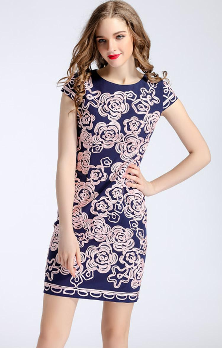 Stickerei Frauen Mantel Kleid Kurzarm Party Kleider 0415340