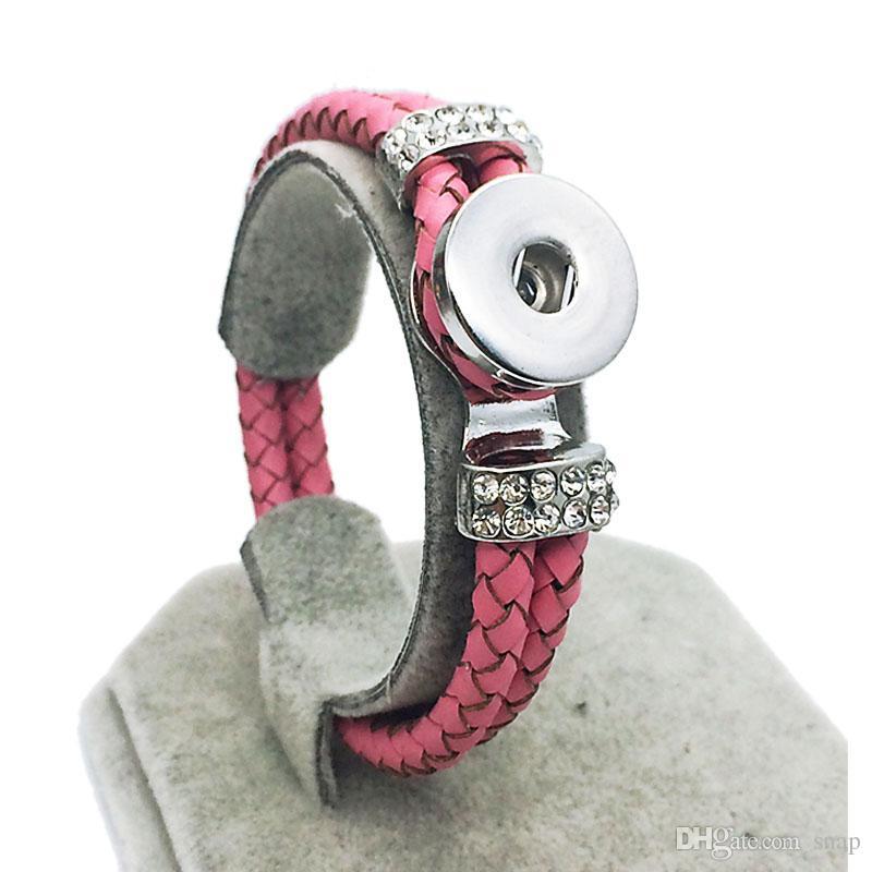 Hot Rhinestones all'ingrosso caldo originale in vera pelle 18 millimetri con bottone a pressione braccialetto intercambiabile gioielli di fascino per le donne uomini lunghezza 20 cm